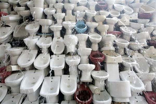 toilet bowls waterfall, porcelain and water, South China's Guangdong Province, 2009