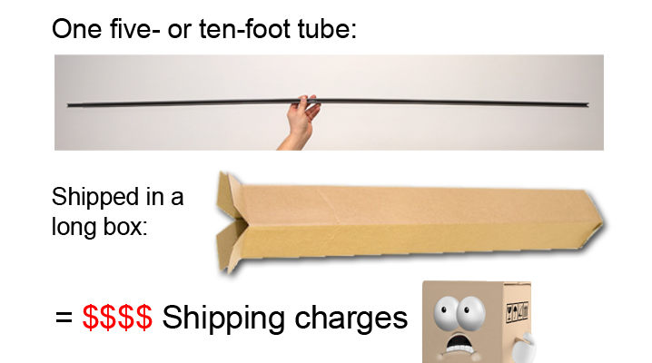 long duct tubes in a long box
